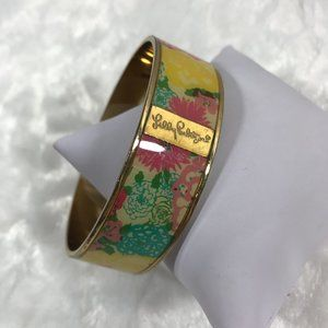 Lilly Pulitzer Enamel bangle bracelet gold tone
